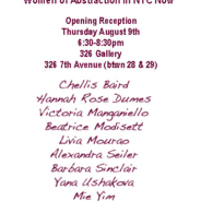 Temporal Escape- Women of Abstraction in NYC Now